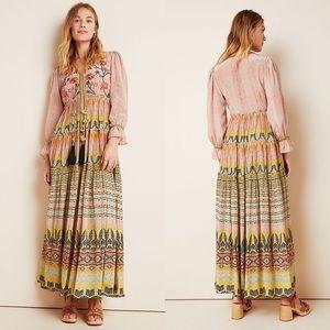 NWT Anthropologie Giorgia Embroidered Maxi Dress